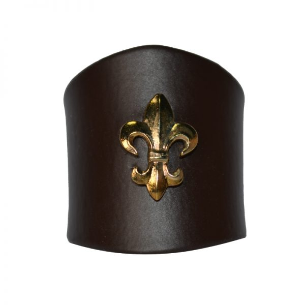Pierścień Brązowy z Lilijką Metalową Złotą