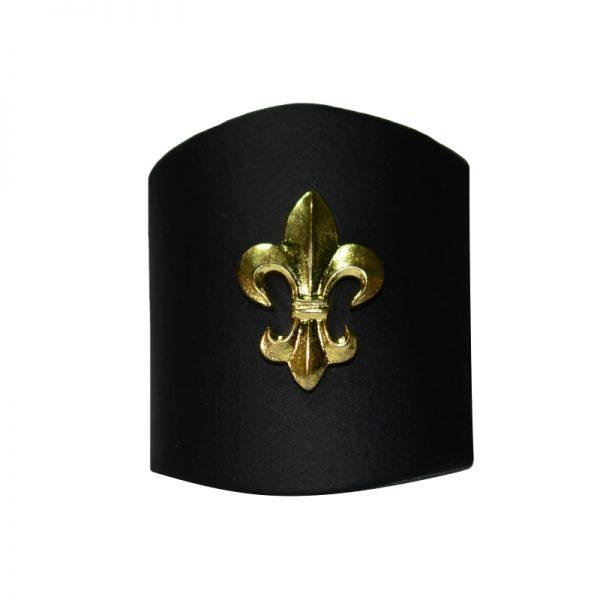 Pierścień Czarny z Lilijką Metalową Złotą