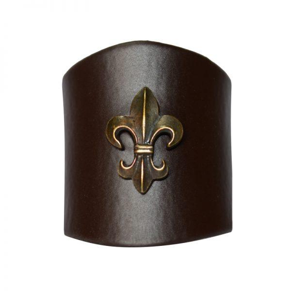 Pierścień Brązowy z Lilijką Metalową Oxydowaną