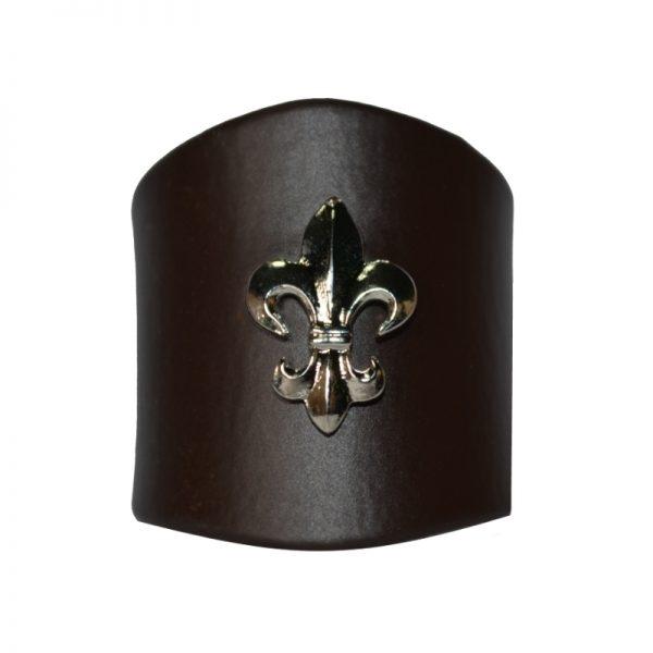 Pierścień Brązowy z Lilijką Metalową Srebną