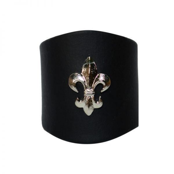 Pierścień Czarny z Lilijką Metalową Srebną